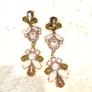 Floral jeweled long earrings